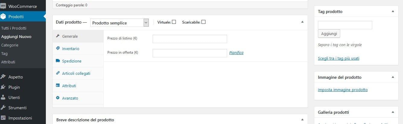 Creare un sito ecommerce - Dati prodotto WooCommerce
