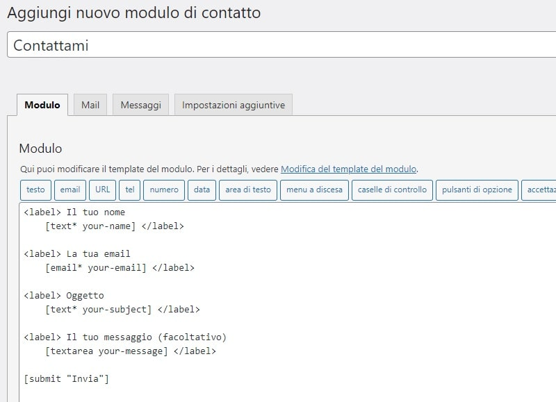 Contact form 7 - modulo di default