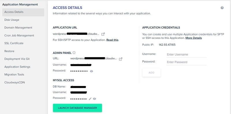 Accesso applicazione Cloudways