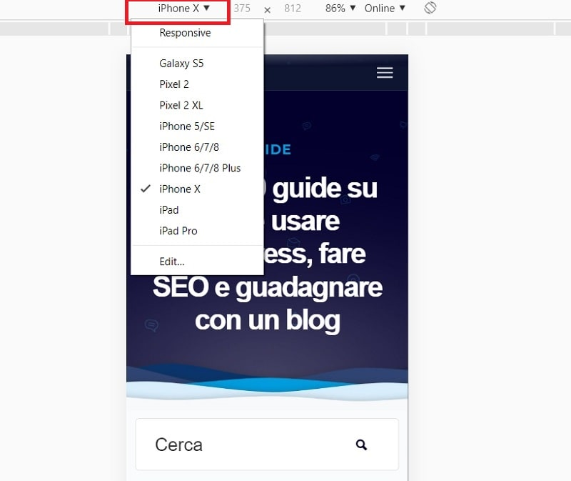 Analisi Responsive strumenti per sviluppatori Chrome