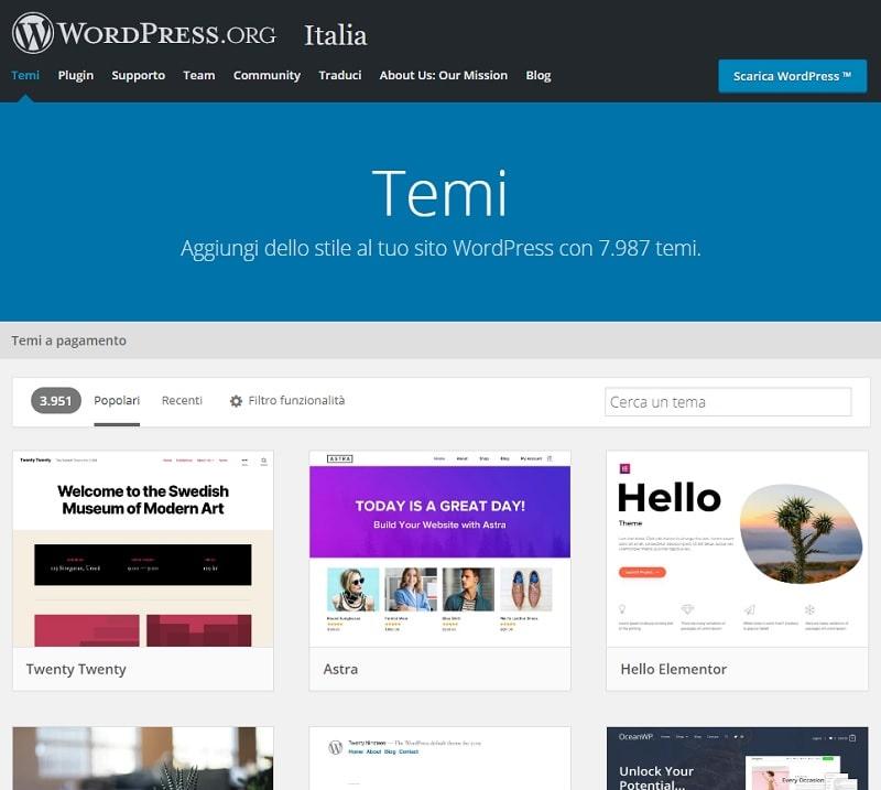 Directory dei temi WordPress
