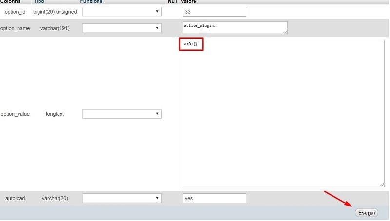 disattivare plugin da database