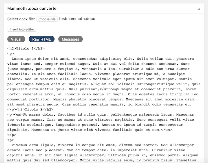 importare documenti docx in WordPress con Mammoth