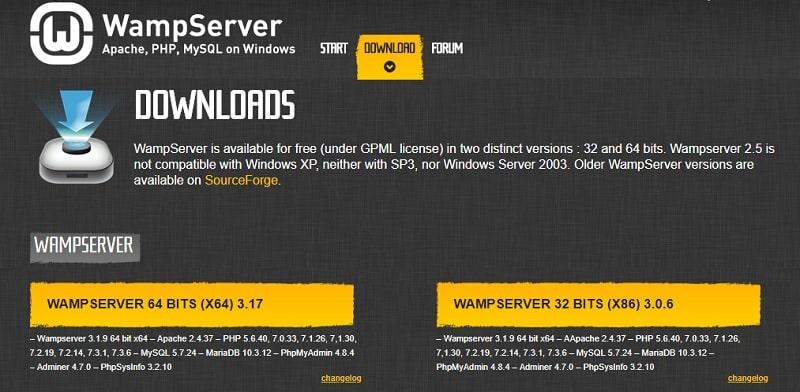 download Wamp per installare WordPress su Windows
