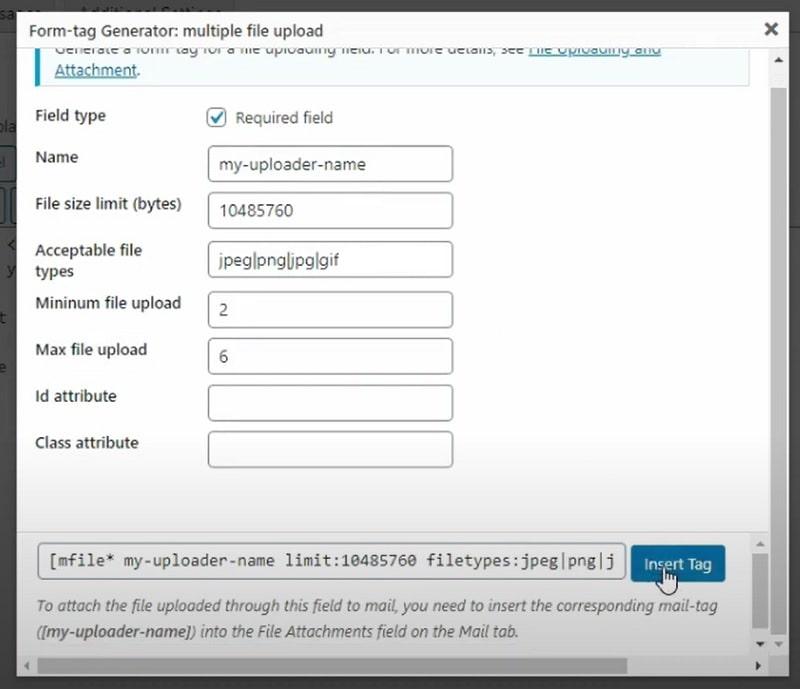 Inviare immagini con Contact Form 7