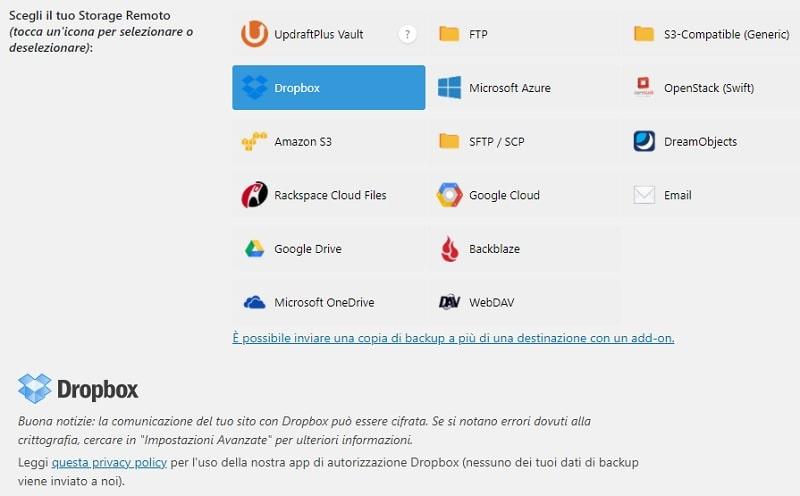 Configurare UpdraftPlus con Dropbox