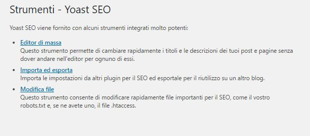 Modificare file htaccess con Yoast SEO