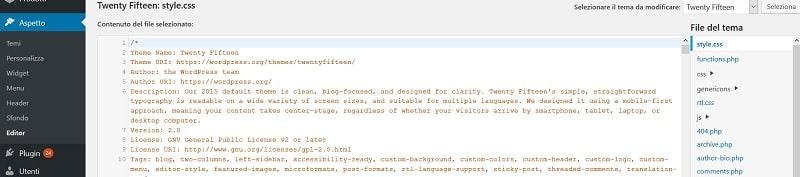 Modificare un tema WordPress - CSS