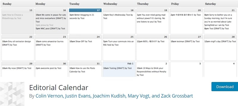 editorial calendar wordpress