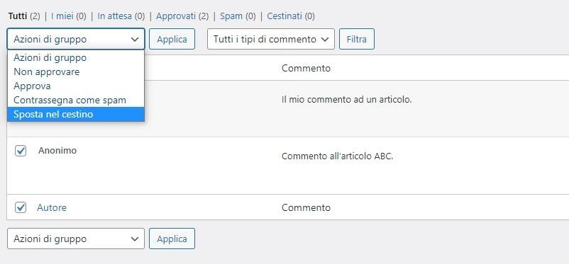 Eliminare i commenti su WordPress