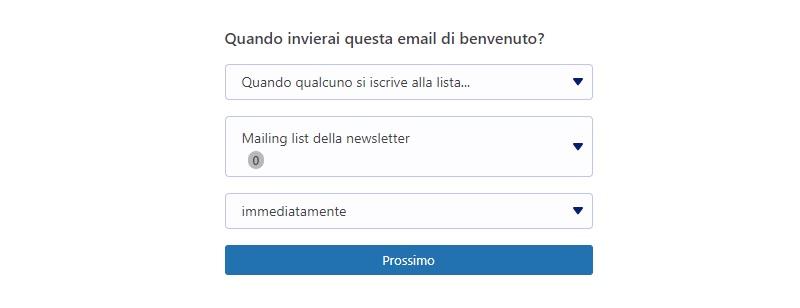 Email di benvenuto MailPoet