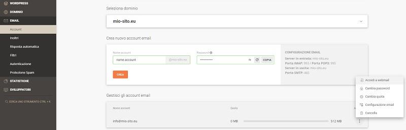 Creare indirizzo email con Site Tools
