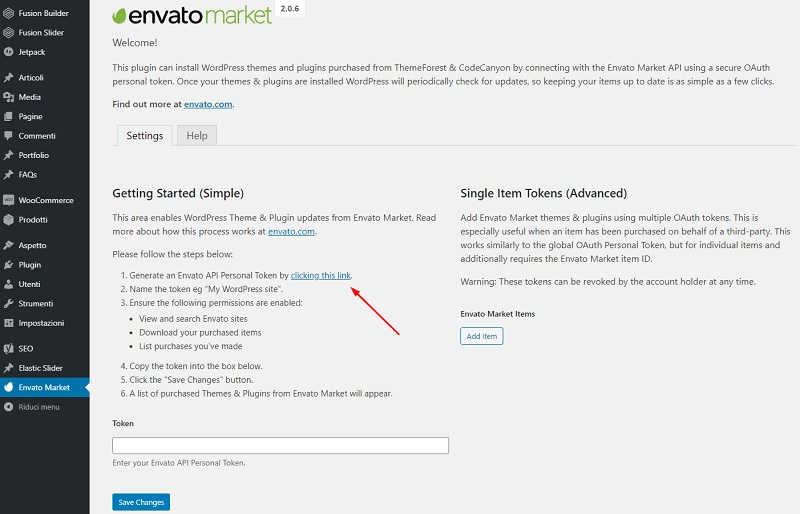 Generare token Envato Market