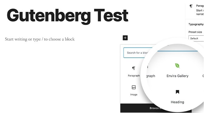 Envira Gallery plugin blocchi Gutenberg