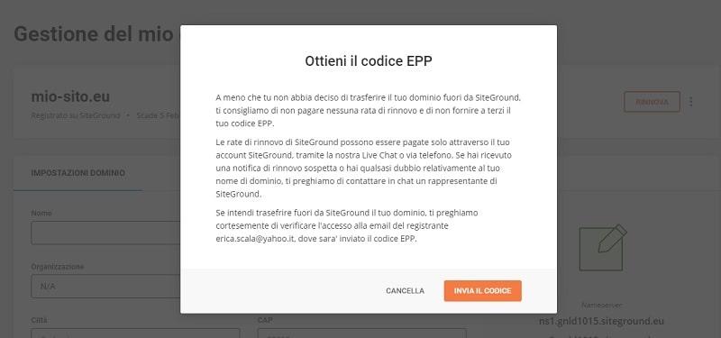 Codice EPP SiteGround