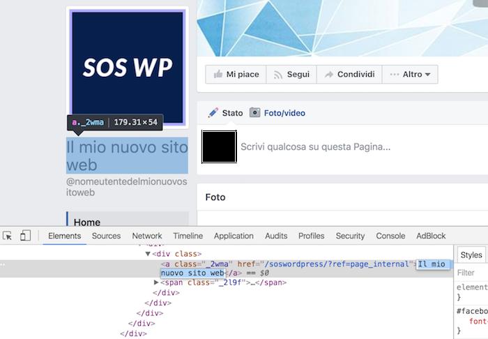 esempio modifica html console google