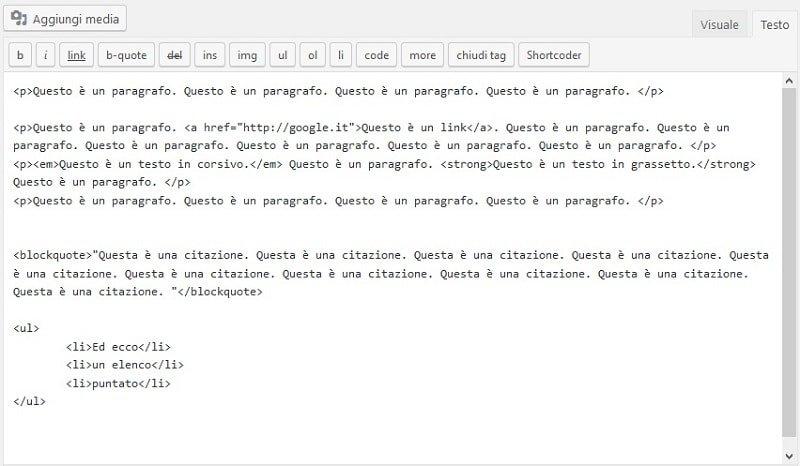 Guida HTML: Esempio di un testo HTML per WordPress