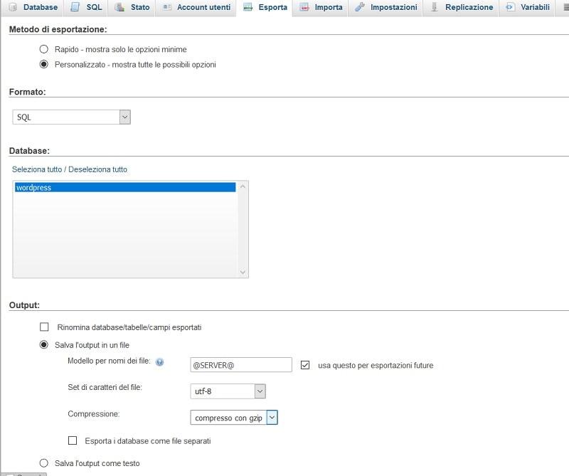 esportazione database phpmyadmin per trasferire WordPress da locale a remoto