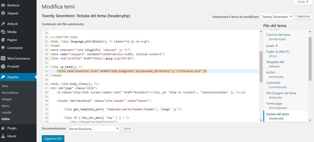 Inserire la favicon su WordPress nel codice dell'header