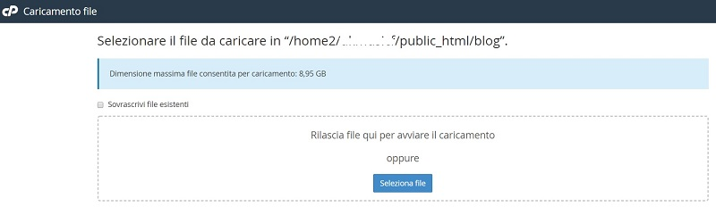 file manager carica file
