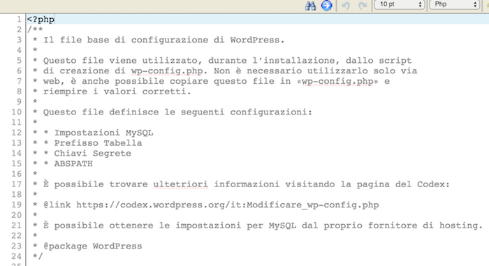 file-wpconfig per rimuovere errore 'Warning: Cannot modify header information'