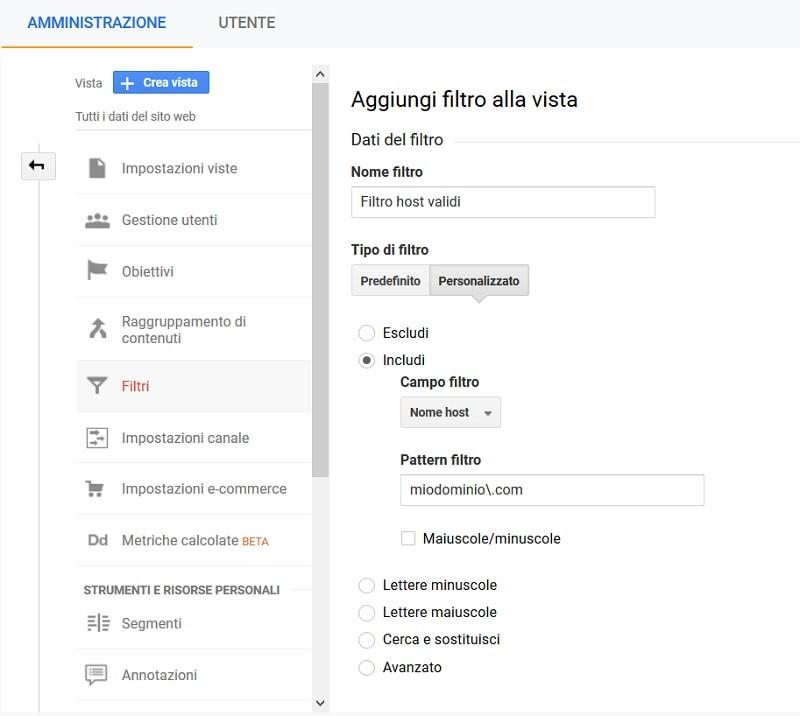 Filtro host validi Analytics