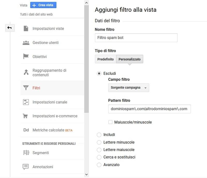 filtro spam personalizzato Analytics