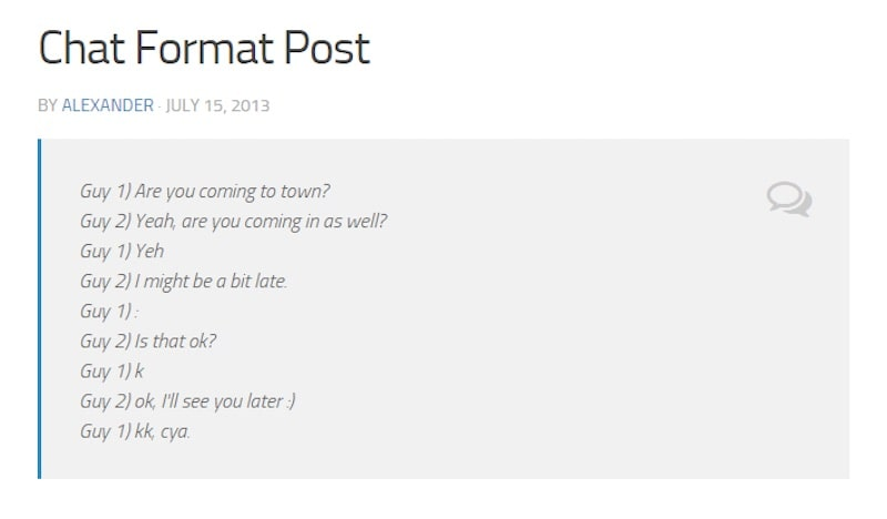 format di post WordPress - chat