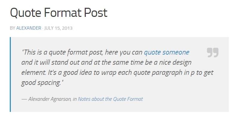 formati di post WordPress - citazione