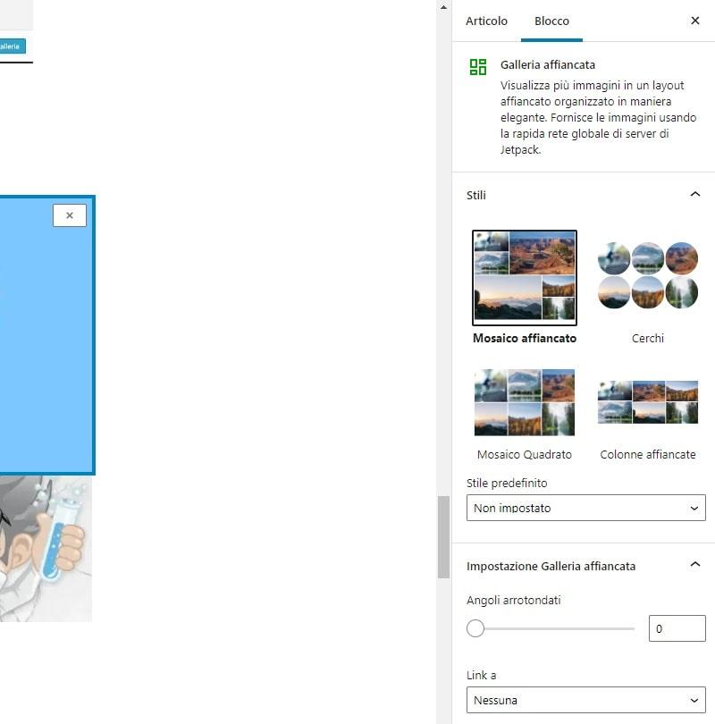 Blocco Galleria affiancata WordPress