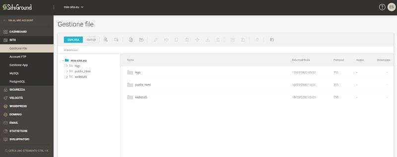Gestione file SiteTools di SiteGround