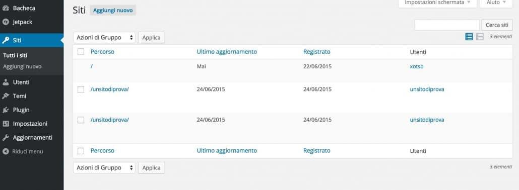 gestione siti WordPress multisite