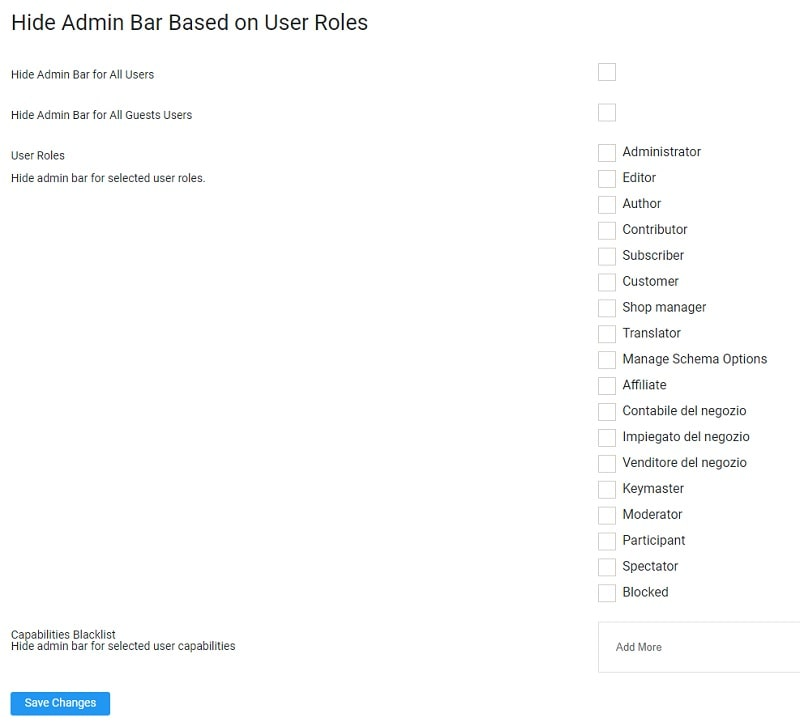 Nascondere admin bar di WordPress con un plugin