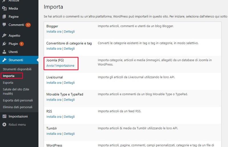 Passaggio da Joomla a WordPress - importazione