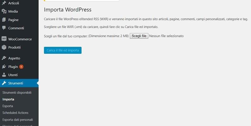 Importazione xml per passare da multisite a sito singolo