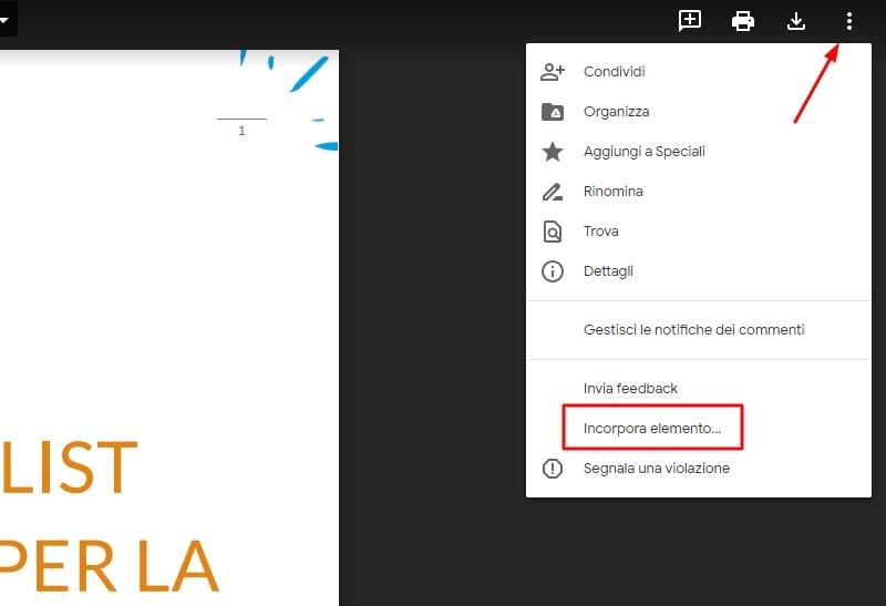 Incorporare un PDF da Google Drive