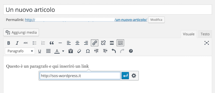 inserimento link wordpress 4.5
