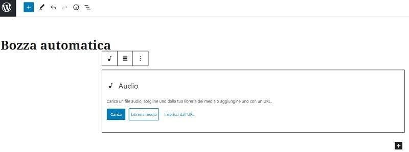 Inserire audio Gutenberg