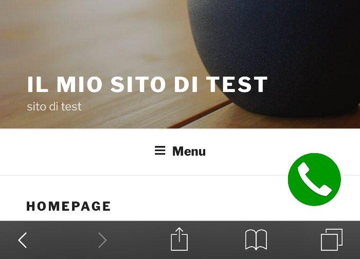 """Inserire un pulsante """"chiama ora"""" sul tuo sito web - esempio su Smartphone"""