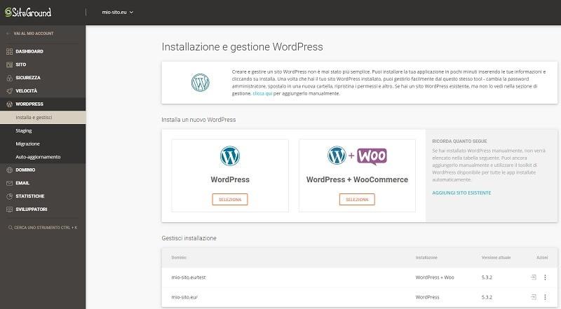 Installazione WordPress con SiteTools di SiteGround
