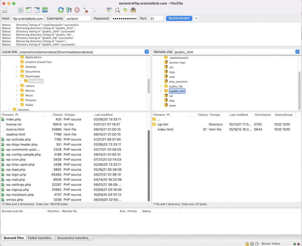 installare via FTP - filezilla