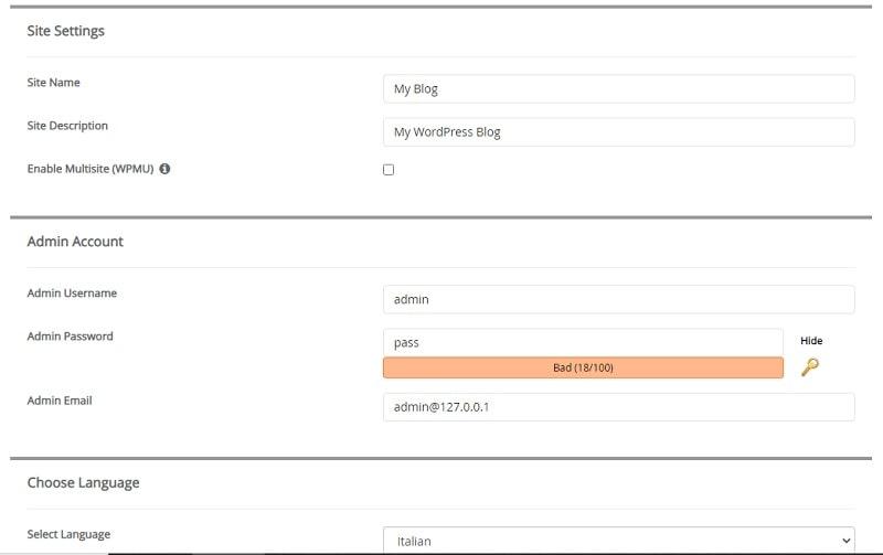 Impostazioni sito per installare WordPress con AMPPS