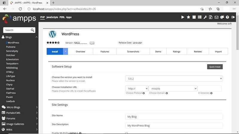 Installazione WordPress con AMPPS e configurazione iniziale sito