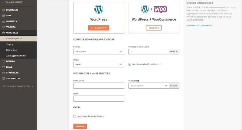 installare WordPress Site Tools
