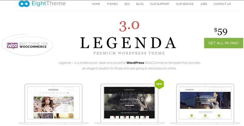 legenda theme tra i migliori temi WooCommerce per un sito stylish