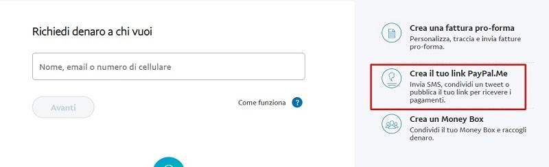 Creazione del link PayPal.me