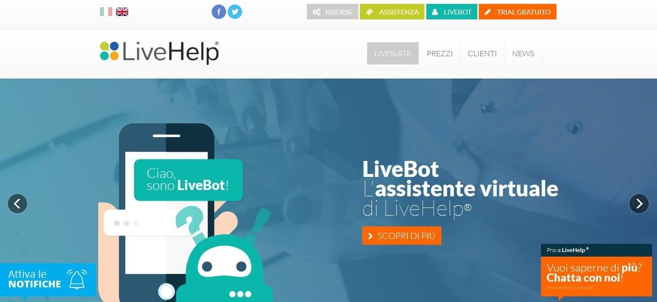 Live help chat per sito web