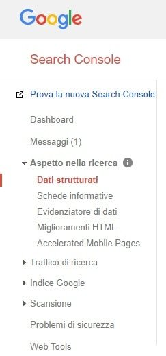 Menu di Google Search Console: dati strutturati
