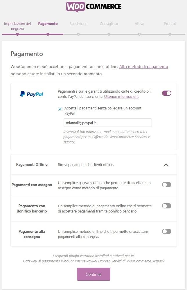 Metodi pagamento WooCommerce