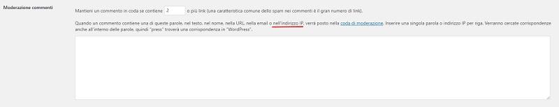 Blacklist indirizzo IP commenti